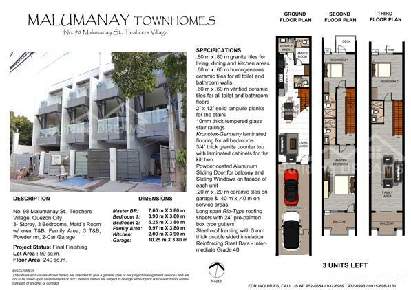 3 Bedroom Townhouse For Sale In Diliman, Quezon City, Philippines ...