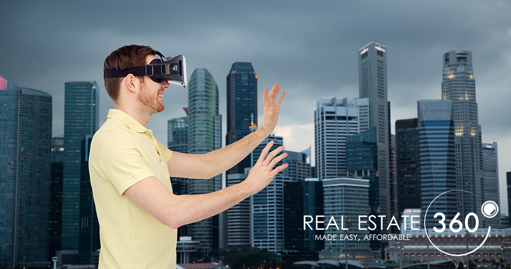 3d technology, virtual reality, travel, entertainment and people concept - happy young man with virtual reality headset or 3d glasses playing game over singapore city skyscrapers background